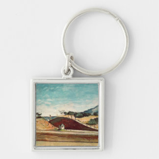 The Railway Cutting, c.1870 Silver-Colored Square Key Ring