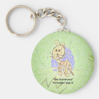 """The Rainforest"" by Kaitlin, Age 6 Basic Round Button Key Ring"