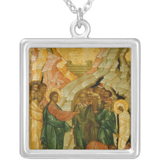 The Raising of Lazarus, Russian icon Silver Plated Necklace