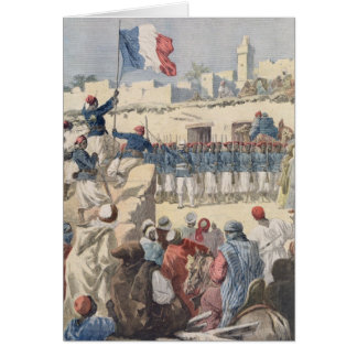 The Raising of the French Flag at Timbuktu Card