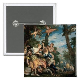The Rape of Europa (oil on canvas) 2 15 Cm Square Badge