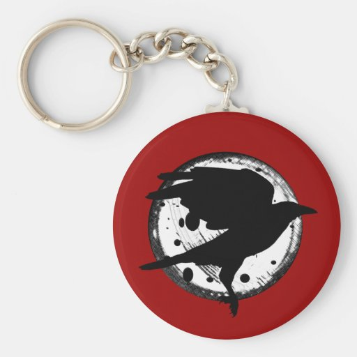 The Raven and the Moon Basic Round Button Key Ring