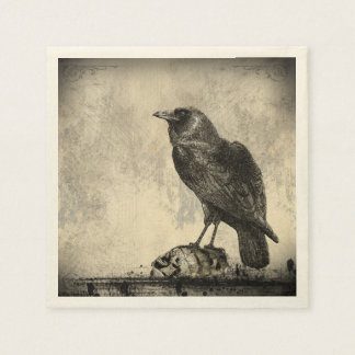 The Raven Gothic Horror Illustration Paper Napkin