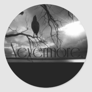 The Raven - Nevermore Sunbeams & Tree B&W Classic Round Sticker