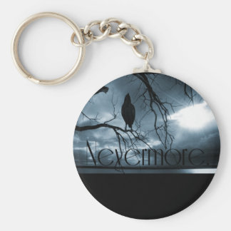 The Raven - Nevermore Sunbeams & Tree Blue Basic Round Button Key Ring