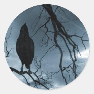 The Raven - Nevermore Sunbeams & Tree Blue Classic Round Sticker