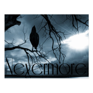 The Raven - Nevermore Sunbeams & Tree Blue Postcard