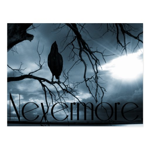 The Raven - Nevermore Sunbeams & Tree Blue Post Cards