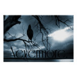 The Raven - Nevermore Sunbeams & Tree Blue Poster