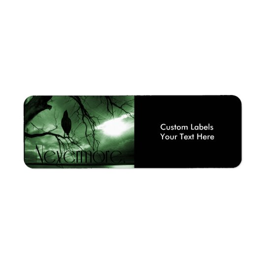 The Raven - Nevermore Sunbeams Tree - Green Return Address Label