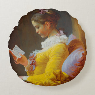 The Reader by Jean-Honore Fragonard Round Cushion