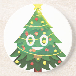 The real Emoji Christmas tree Coaster