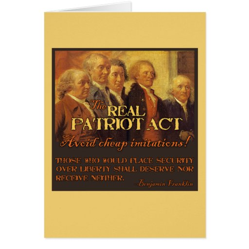 The Real Patriot Act, The Founding Fathers Greeting Card