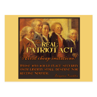 The Real Patriot Act, The Founding Fathers Postcard