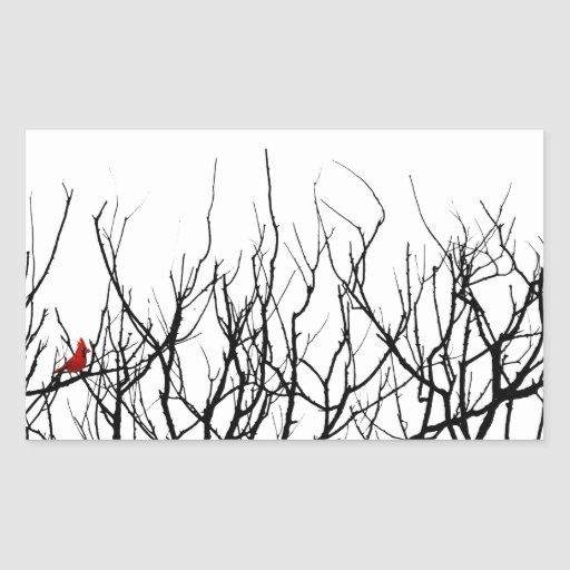 The Red Bird by Leslie Peppers Rectangle Stickers