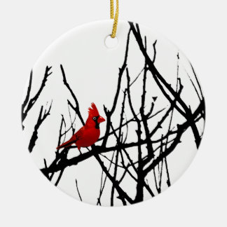 The Red Bird by Leslie Peppers Round Ceramic Decoration