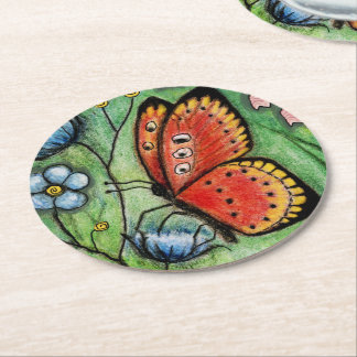 """""""The Red Butterfly"""" Paper Coasters Round Paper Coaster"""