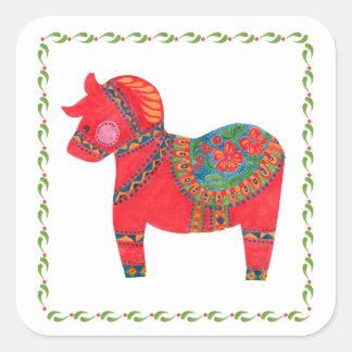 The Red Dala Horse Square Sticker