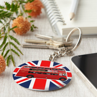 The Red Double-Decker London Bus Basic Round Button Key Ring