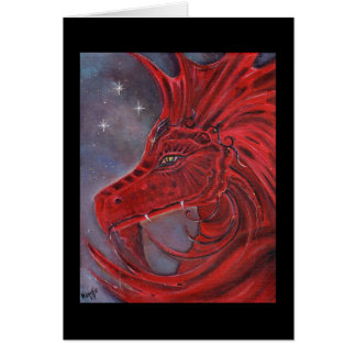 The Red dragon fantasy art card by Renee Lavoie