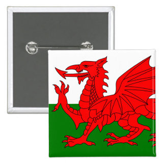 The Red Dragon [Flag of Wales] 15 Cm Square Badge