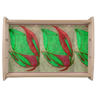 the red flower in bloom serving platters