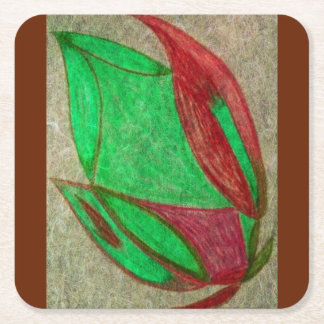 the red flower in bloom square paper coaster
