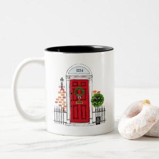 The Red Holiday Christmas Door Coffee Mug