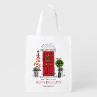 The Red Holiday Christmas Door Reusable Bag