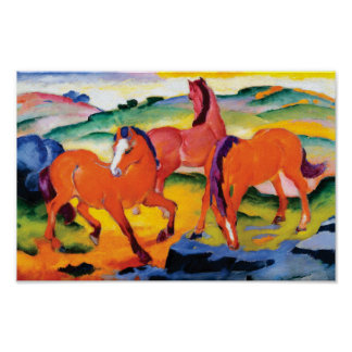 The Red Horses by Franz Marc Poster