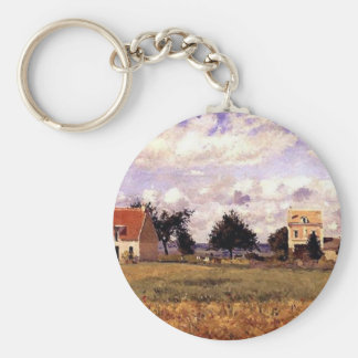 The Red House by Camille Pissarro Basic Round Button Key Ring