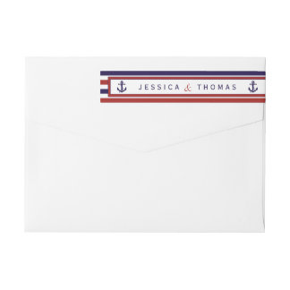 The Red & Navy Nautical Anchor Wedding Collection Wraparound Return Address Label