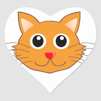 The Red-Nosed Orange Cat Heart Sticker