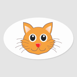 The Red-Nosed Orange Cat Oval Sticker