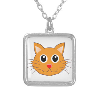 The Red-Nosed Orange Cat Silver Plated Necklace