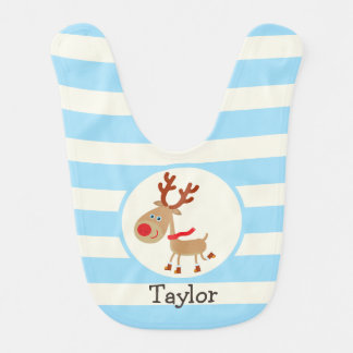 the Red Nosed Reindeer; Blue Stripes Baby Bib