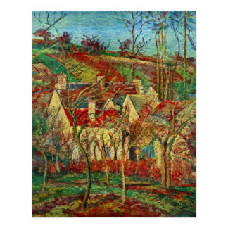 The red roofs by Camille Pissarro Poster