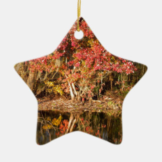 The Red Tree at Sunset Ceramic Ornament