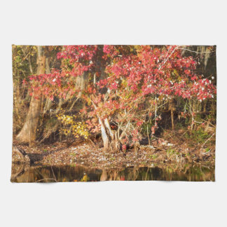 The Red Tree at Sunset Tea Towel
