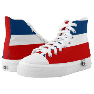 The Red White and Blue Striped Zipz High Top Shoes Printed Shoes