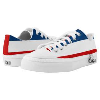 The Red White and Blue Striped Zipz Low Top Shoes Printed Shoes