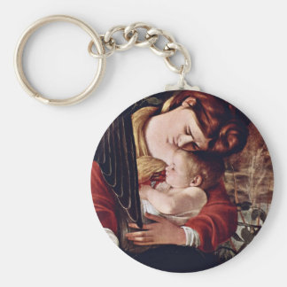 The Rest On The Flight Into Egypt  By Michelangelo Basic Round Button Key Ring