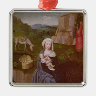 The Rest on the Flight into Egypt Silver-Colored Square Decoration