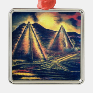 The Resting Place, Pyramids Silver-Colored Square Decoration