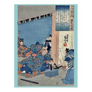 The retirement of Emperor by Utagawa,Kuniyoshi Post Card