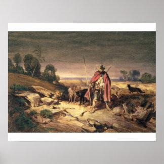 The Return of the Shepherd (pen & brown ink, w/c & Poster