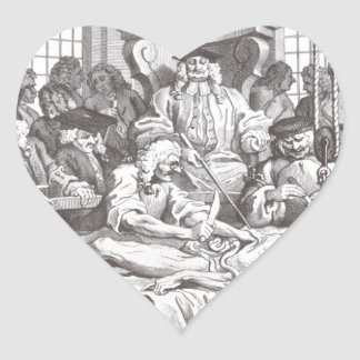The Reward of Cruelty by William Hogarth Heart Sticker
