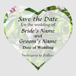 The Rhododendrons Are In Bloom Save the Date Heart Sticker