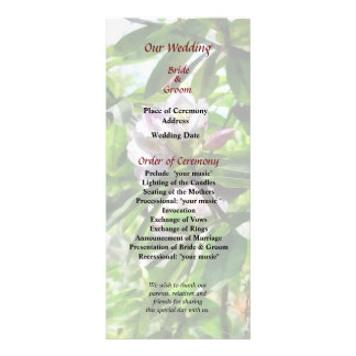 The Rhododendrons Are in Bloom Wedding Program Rack Card