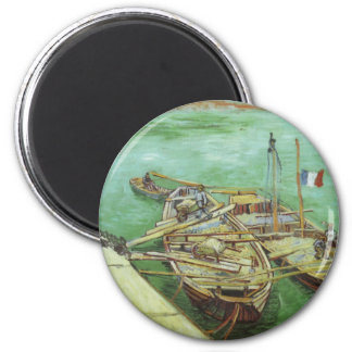 The Rhone Barges 6 Cm Round Magnet